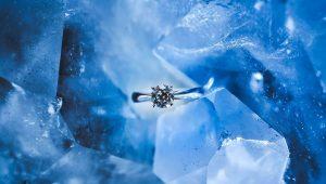 Diamond ring in ice