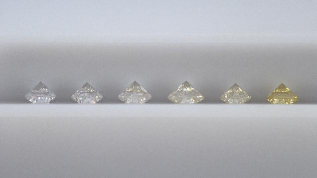 different color grades of diamonds