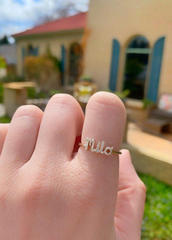 Diamond name ring