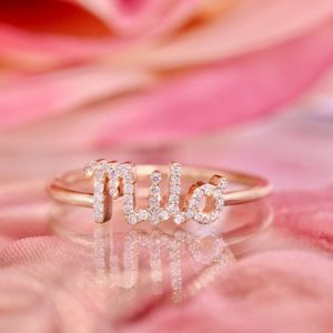 Diamond name ring gold