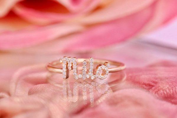 Diamond name ring gold