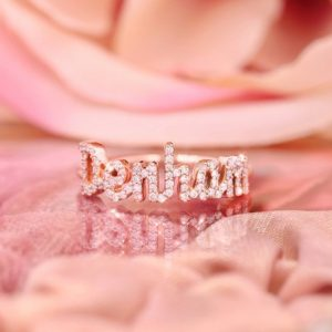 Diamond name ring rose gold