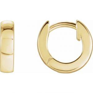 Yellow Gold Hinged Hoop Earrings Side View