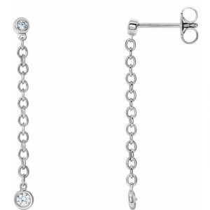 white gold bezel set chain earrings with diamonds