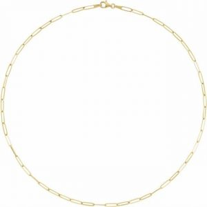 yellow gold flat chain link necklace