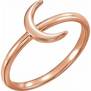 Rose Gold Crescent Moon Stacking Fashion Ring