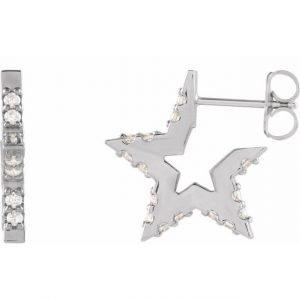 White Gold Nova Star Diamond Hugging Hoops Side View