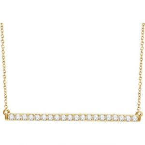 Yellow Gold Diamond Bar Chain Necklace