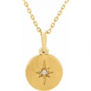 Yellow Gold Accented Starburst Pendant Necklace With Diamond