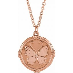 rose gold butterfly medallion necklace