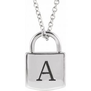 white gold engraved initial pendant lock necklace