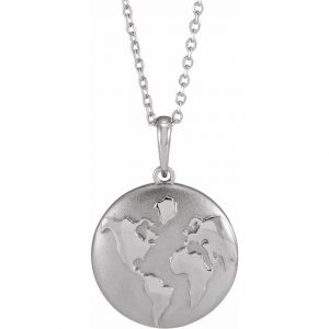 around the world white gold world pendant
