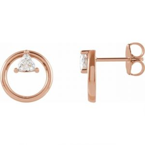 side view dainty floating trillion rose gold earrings