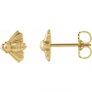 yellow gold honey bee pendant studs