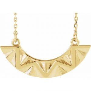 Yellow Gold Undulate Pendant Geometric Necklace