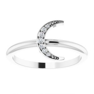 White Gold Crescent Moon Ring with Diamonds