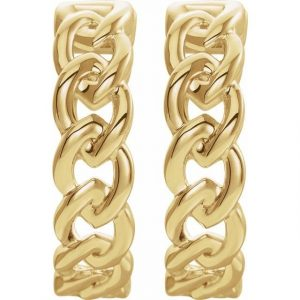 Yellow Gold Chain Link Earrings Front View
