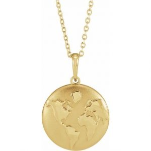 around the world yellow gold world pendant
