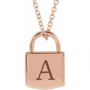 roes gold engraved initial pendant lock necklace