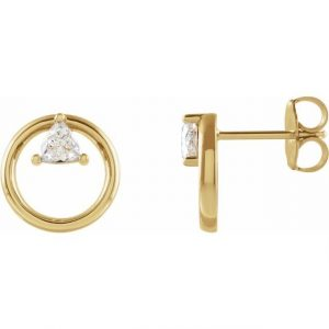 side view dainty floating trillion yellow gold earrings