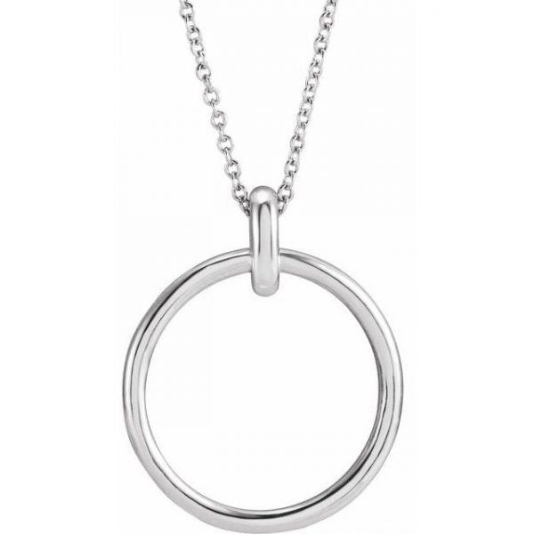 White Gold Chain Necklace with Gold Hoop