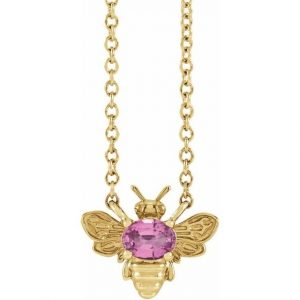 yellow gold bee pendant necklace with pink sapphire