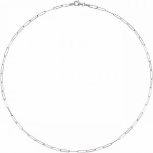 white gold flat chain link necklace
