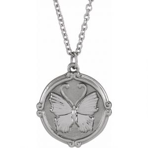 white gold butterfly medallion necklace