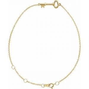 Dainty Yellow Gold Key Chain Bracelet