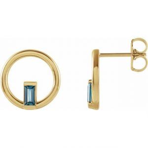 Yellow Gold Hoop Earring with London Blue Topaz Side View
