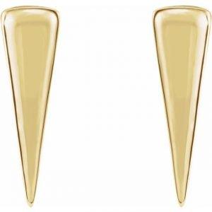 Yellow Gold Talisman Triangle Stud Earrings