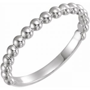white gold beaded stackable ring