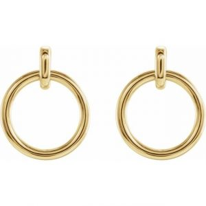 Yellow Rose Gold Dainty Dangling Hoop Earrings