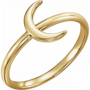 Yellow Gold Crescent Moon Stacking Fashion Ring