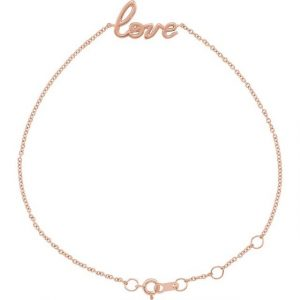 rose gold love on your wrist dainty chain bracelet