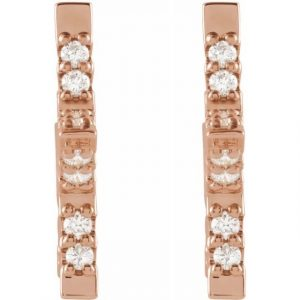 Rose Gold Nova Star Diamond Hugging Hoops