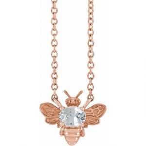 rose gold bee pendant necklace with white sapphire