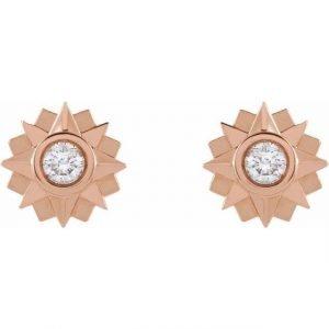 Rose Gold Sunburst Stud Earrings with Diamonds