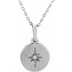 White Gold Accented Starburst Pendant Necklace With Diamond