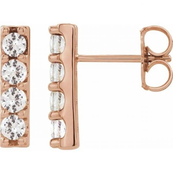 rose gold side view accented bar diamond earrings