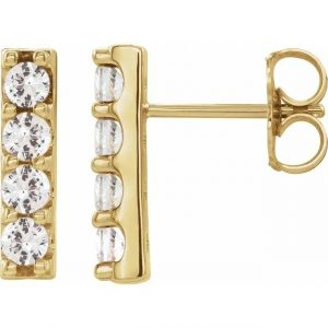 yellow gold accented bar earrings