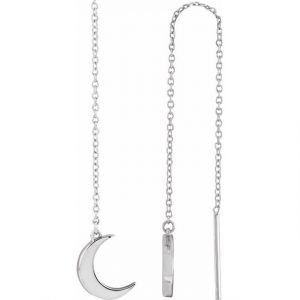 white gold chain dainty dropping moon earrings side view