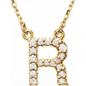 Yellow Gold Diamond Initial Necklace Pendant
