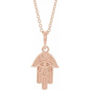 rose gold hamsa pendant necklace with dainty chain