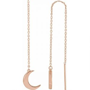 side view rose gold dainty moon dangling earrings