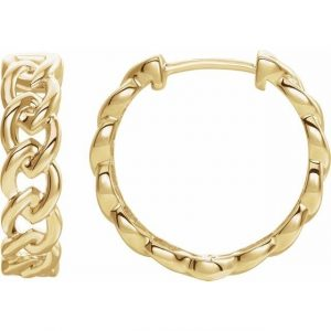 Yellow Gold Chain Link Earrings Side View