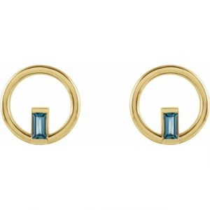 Yellow Gold Hoop Earring with London Blue Topaz