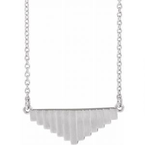 White Gold Mondrian Emulate Pendant Necklace