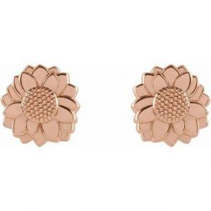 cute dainty rose gold sunflower pendant earring studs