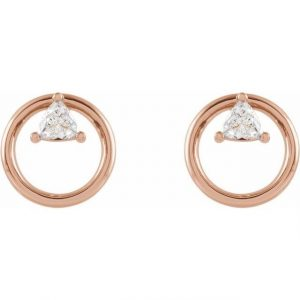 rose gold floating trillion earrings with diamonds